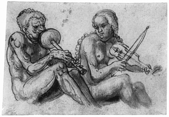 Lucas Cranach the Elder. Seated Nude pair for music
