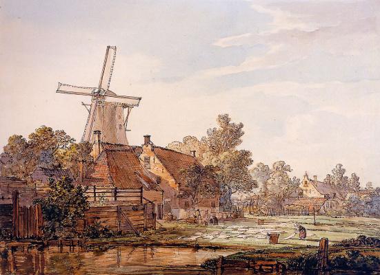 Абрахам ван Стрий. Вид на поселок с мельницей