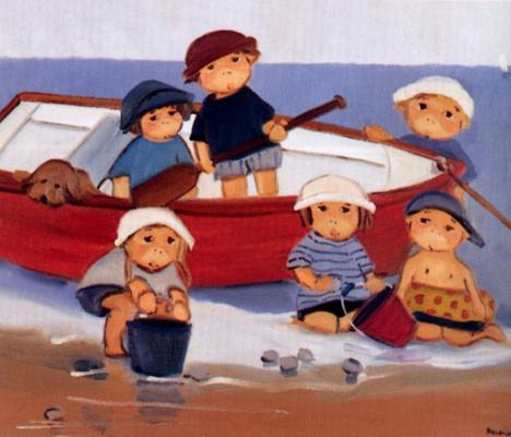 Рядом с закрепленной лодкой