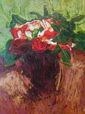 """Oleg Igorevich Kochegarov. Still Life. """"Scarlet Roses"""""""
