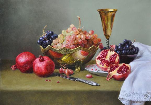 Юрий Викторович Кудрин. Натюрморт с гранатом и виноградом.   2000