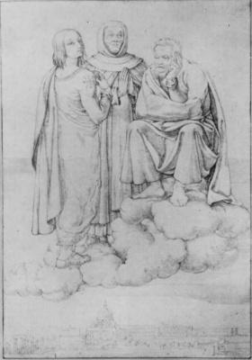 Франц Пфорр. Рафаэль, Фра Анжелико и Микеланджело на облаке над Римом