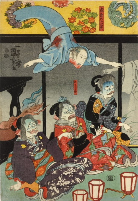 Utagawa Kuniyoshi. Triptych: Horikoshi, Masatomo (played by Bando, Hikosaburo IV) is attacked by a Ghost Aquasure. The middle part