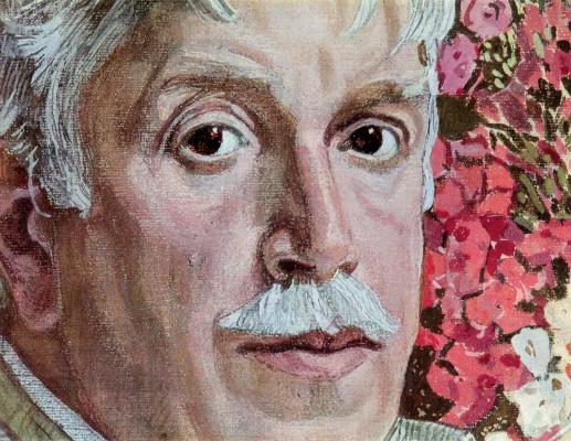 Alexander Yakovlevich Golovin. Self portrait with striped fabric. Fragment