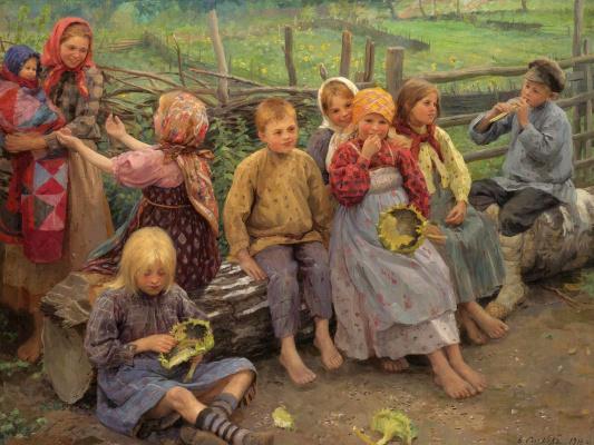 Федор Васильевич Сычков. Дети с подсолнухами. 1916
