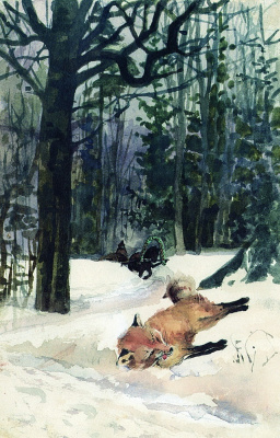 "Elena Dmitrievna Polenova. Illustration for the fairy tale ""Wolf and the Fox"""