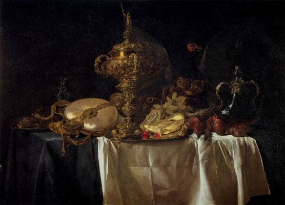 Willem van Aelst. Still life of utensils and fruit