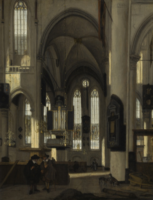 Emmanuel de Witte. INTERIOR OF A GOTHIC PROTESTANT CHURCH