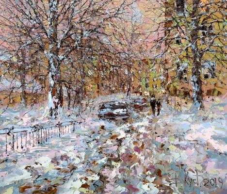 Dmitry Alexandrovich Kustanovich. Evening courtyard