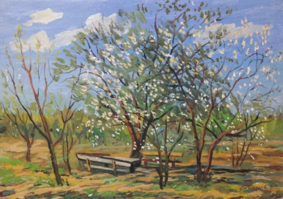 Valery Sergeevich Semenov. Apple trees in bloom
