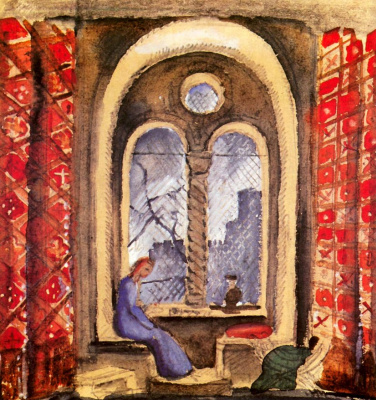 "Mstislav Valerianovich Dobuzhinsky. At the window Isory. A sketch of the scenery for the play by Alexander Blok's ""the rose and the Cross"""
