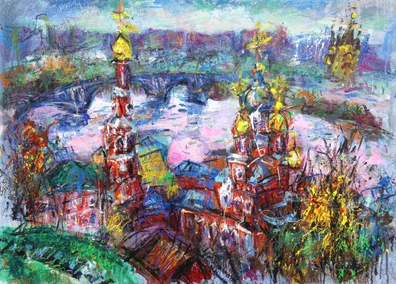 Ilya Pavlovich Spichenkov. Christmas church. Pink