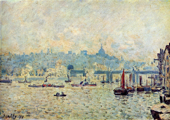Alfred Sisley. Views of the river Thames: the bridge to Charing Cross