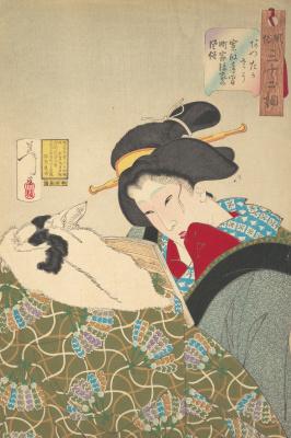 """Цукиока Ёситоси. Ощущение тепла - читающая женщина со спящей кошкой. Серия """"32 женских лика повседневности"""""""