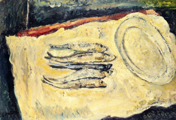 Haim Solomonovich Soutine. Still life with herrings and oval plate