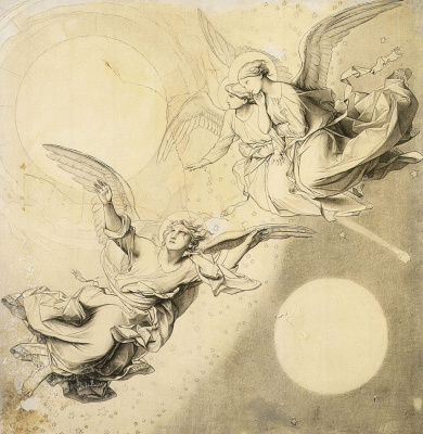 Fedor (Fidelio) Antonovich Bruni. Sun, moon and stars with groups of angels