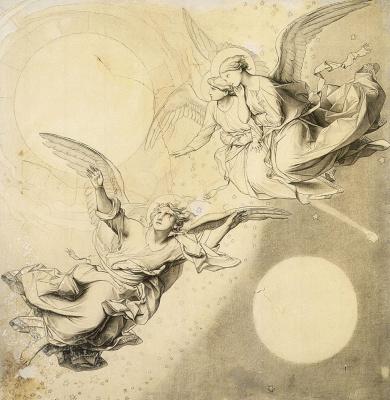 Федор (Фиделио) Антонович Бруни. Солнце, луна и звезды с группами ангелов