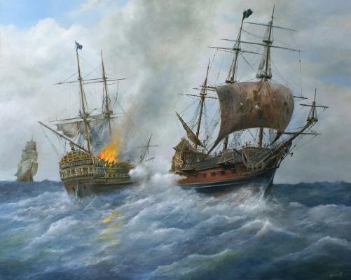 "Сергей Владимирович Дорофеев. Pirate galleon ""Revenge of Queen Anne"" attacks the English military frigate"
