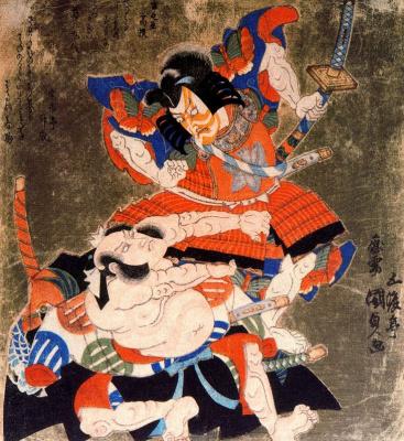 Утагава Кунисада. Актеры кабуки Итикава Данзюро VII и Бандо Мицугоро III