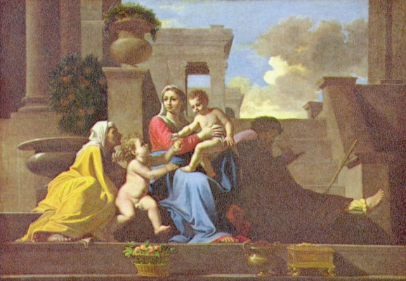 Nicola Poussin. The Holy family at the stairs