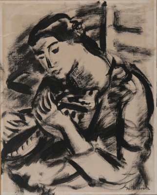 Seated woman holding a stringed instrument