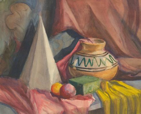 Olga Konstantinovna Deineko. Still life with a cone and a jug. 1961