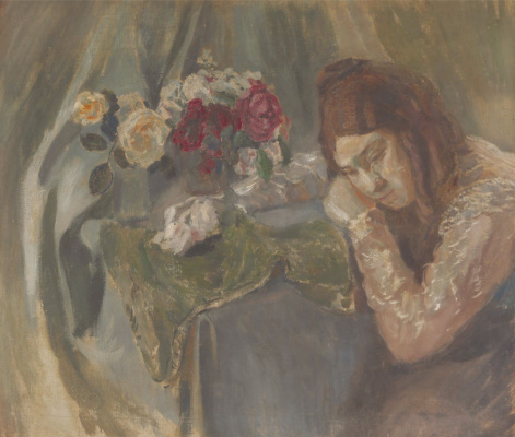 Victor Elpidiforovich Borisov-Musatov. Girl with roses. Portrait of sister