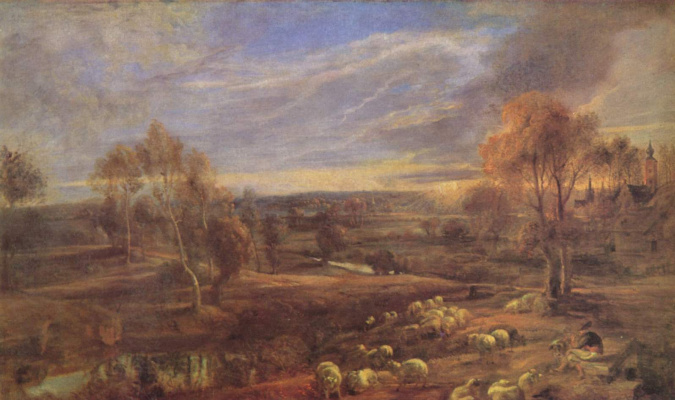 Peter Paul Rubens. Evening landscape with shepherd and flock