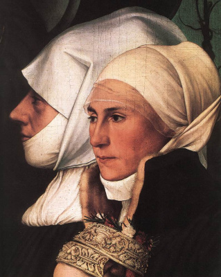 Hans Holbein The Younger. Darmstadt Madonna, or Madonna Mayer. Fragment