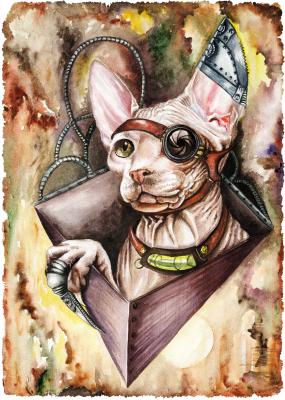Victoria Vladimirovna Lukyanova. Steampunk cat