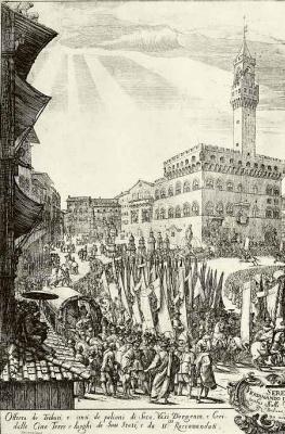 Жак Стелла. Торжественная процессия с приношением дани Фердинанду II, великому герцогу Тосканскому, фрагмент
