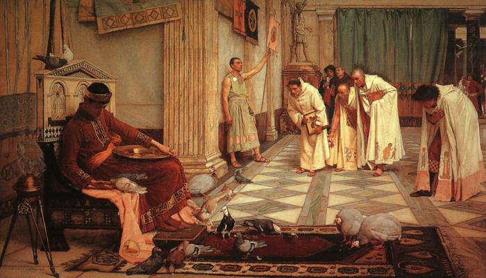 John William Waterhouse. The favourites of the Emperor Honorius