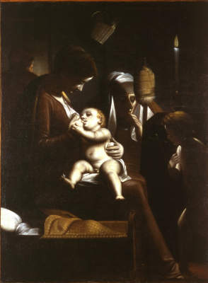 Sofonisba Anguissola. Madonna and Child by candlelight (Luca Cambiaso as Madonna)