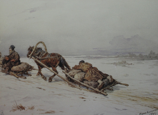 Петр Петрович Соколов. «На санях» 1869