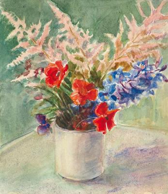 Елена Дмитриевна Чичагова-Россинская. Букет садовых цветов с астильбой. 1940-е