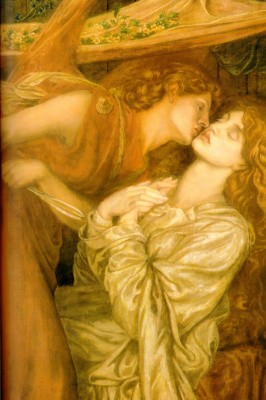 Dante Gabriel Rossetti. The dream Dante of the death of Beatrice. Fragment. Angel kiss