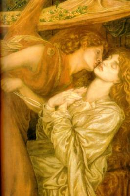 Dante Gabriel Rossetti. The dream Dante of the death of Beatrice. Fragment. Angel kiss