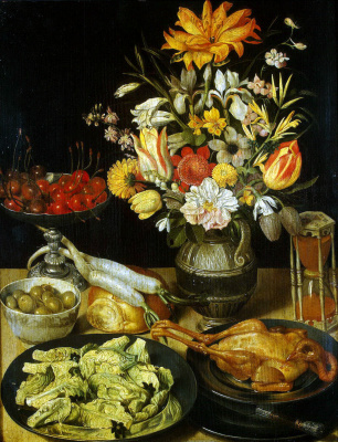 Georg Flegel. Still life with flowers and snacks