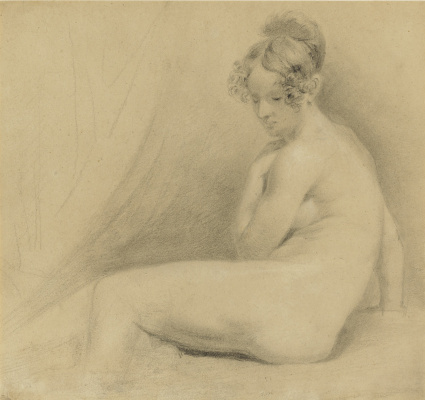 John Constable. Sketch of a seated Nude