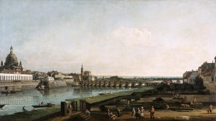 Bernardo Bellotto. Dresden from the right bank of the Elbe over the Augustus Bridge