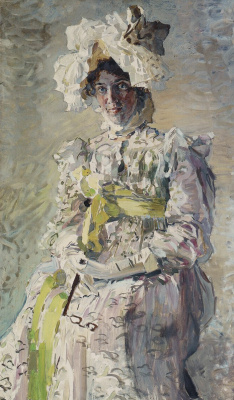 """Mikhail Vrubel. Portrait of the artist N. And. Zabela-Vrubel, the artist's wife, in the summer toilet """"Empire"""", performed by the artist"""