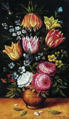 Abraham Brueghel. Vase with tulips and dahlias