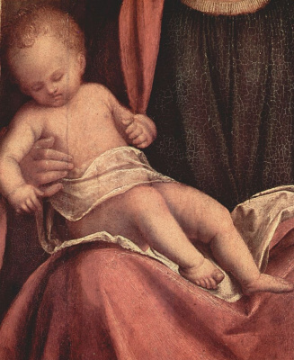 Джорджоне. Алтарь Кастельфранко, сцена: Мадонна на троне со св. Либералисом Тревизским и св. Франциском, деталь: младенец Христос