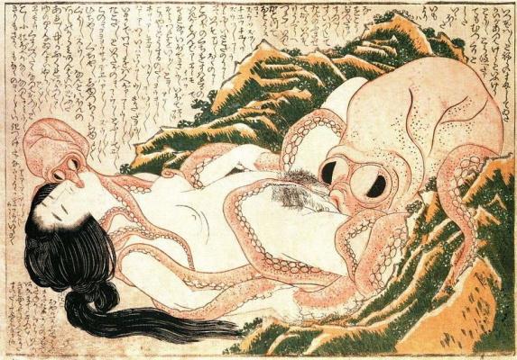 Кацусика Хокусай. Сон жены рыбака