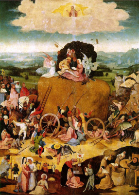 Hieronymus Bosch. The hay-cart. The Central part of the triptych