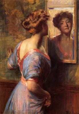 Thomas Pollock Anschutz. Reflection of woman in mirror