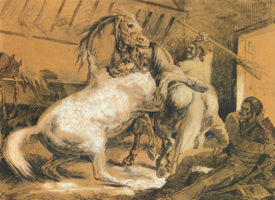 Théodore Géricault. Horses fight in the stall