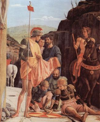 Andrea Mantegna. The altar of San Zeno in Verona, triptych, middle predella, scene: Crucifixion, detail: Soldiers