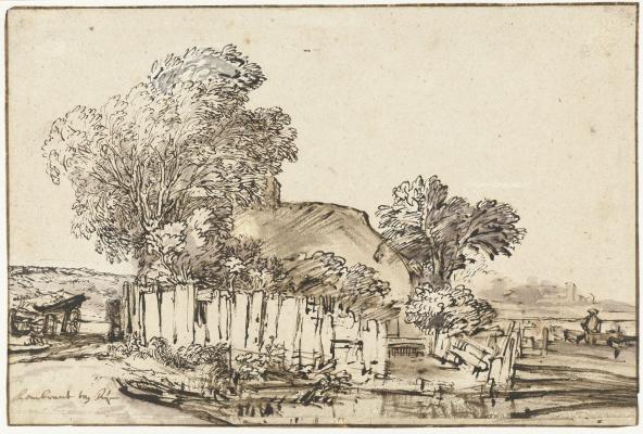 Рембрандт Харменс ван Рейн. Домик за белым частоколом среди деревьев