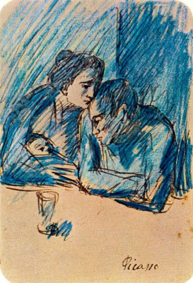 Pablo Picasso. Man and woman with child in café